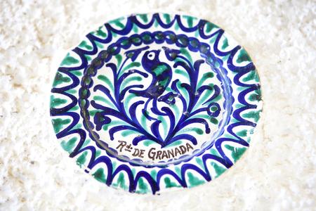 Plate of Fajalauza ceramic, originally developed in Granada Albaicin District, Spain Stock Photo