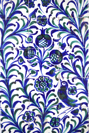 Fajalauza tile glazed wall, originally developed in Granada Albaicin District, Spain Reklamní fotografie - 63549073