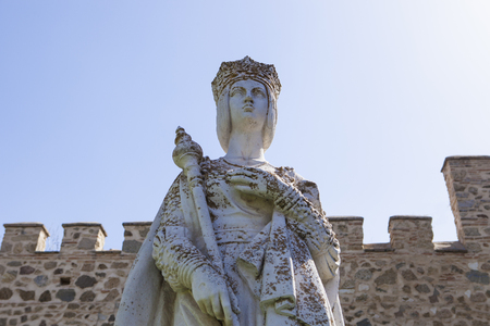 Statue of Queen Isabella I of Castile, founder of the monastery San Juan de los Reyes in Toledo. Spain