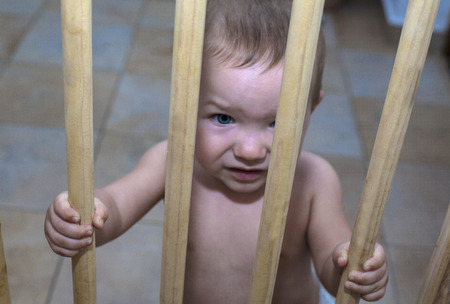 one year old: One year old baby boy behind the wooden safety gate of stairs. He is trying to go upstairs
