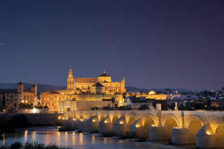 masonary: Roman bridge and Mosque of Cordoba under star-filled sky, Cordoba, Spain. Night scene