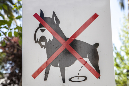 Prohibition dog sign outdoors on green areas