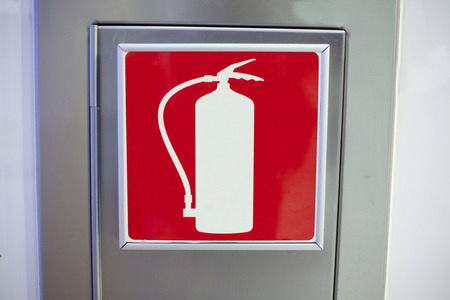 wall mounted: One wall mounted aluminum box for fire extinguisher with red icon extinguisher