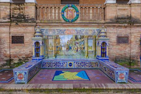 plaza of arms: Glazed tiles bench of spanish province of Valencia at Plaza de Espana, Seville, Spain
