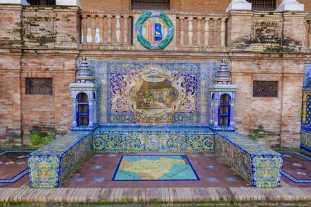 Glazed tiles bench of spanish province of Teruel at Plaza de Espana, Seville, Spain