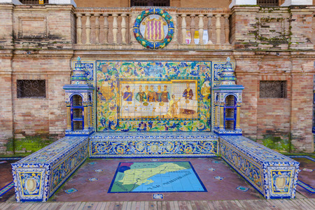 plaza of arms: Glazed tiles bench of spanish province of Tarragona at Plaza de Espana, Seville, Spain Stock Photo