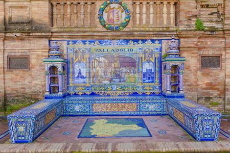 Glazed tiles bench of spanish province of Valladolid at Plaza de Espana, Seville, Spain