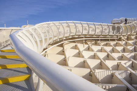 Roof footbridge for pedestrians at Metropol Parasol. It provides a unique view of the old city center and the cathedral Stock Photo