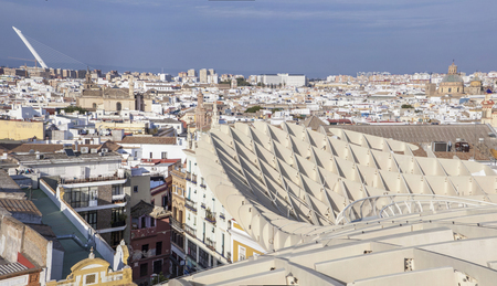 metropol parasol: Roof footbridge for pedestrians at Metropol Parasol building, Seville, Spain