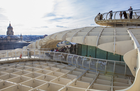 metropol parasol: Seville, Spain - January 2, 2017: terrace and restaurant of Metropol Parasol or Setas de Sevilla, Spain. It provides a unique view of the old city Editorial