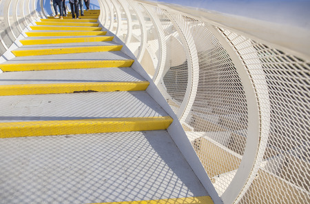 metropol parasol: Seville, Spain - January 2, 2017: Roof footbridge for pedestrians at Metropol Parasol, Seville, Spain