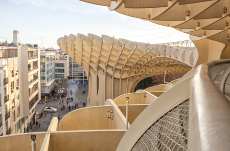 metropol parasol: Seville, Spain - January 2, 2017: Space Metropol Parasol or Setas de Sevilla at Encarnacion Square, Spain