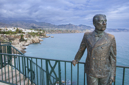 Nerja, Spain - december 5, 2016: monument to the King of Spain Alfonso XII on the  promenade of the Mediterranean Sea in Nerja, Spain Editorial