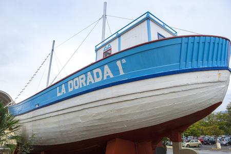 Nerja, Spain - December 5, 2016:  Famous fishing boat of La Dorada, Nerja, Spain. This boat belonged to the famous TV Film Verano Azul Editorial