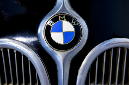 Malaga, Spain - December 4, 2016:  BMW Logo brand outside Car. Displayed at Museo Automovilistico in Malaga , Spain
