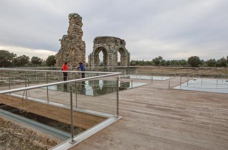 oliva: Spain, Caceres - February, 15, 2017: visitors at roman site of Caparra. Crossroad ancient city ruins at Silver Route, Via de la Plata, Caceres, Spain