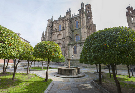 Plasencia New Cathedral. View from orange trees garden, Caceres, Spain