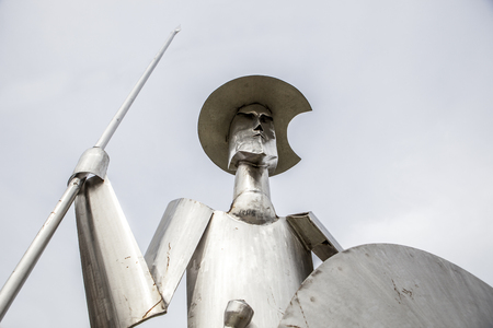 Plasencia, Spain - February 15, 2017: Don Quixote steel sculpture made by the artist Manuel Iglesias