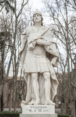 Madrid, Spain - february 26, 2017: Sculpture of Wilfred the Hairy at Plaza de Oriente, Madrid. He was a Visigothic King of Hispania from 568 to April 586