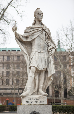 Madrid, Spain - February 26, 2017: Sculpture of Alfonso I of Asturias at Plaza de Oriente, Madrid. He was called the Catholic, reigning from 739 to His death in 757. Editorial