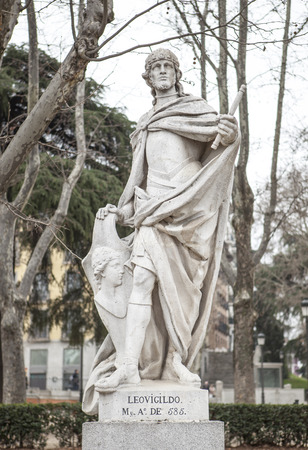 Madrid, Spain - february 26, 2017: Sculpture of Leovigild King at Plaza de Oriente, Madrid. He was a Visigothic King of Hispania and Septimania from 568 to April 586