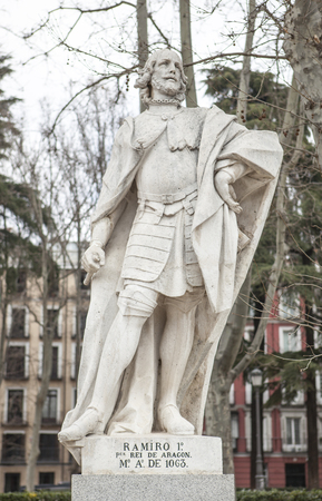 Madrid, Spain - february 26, 2017: Sculpture of Ramiro I of Aragon at Plaza de Oriente, Madrid. He was the first King of Aragon, 1007-1063 Editorial