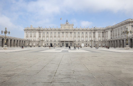 stereotypically: Tourists at Royal Palace in Madrid, Spain. View from courtyard Stock Photo
