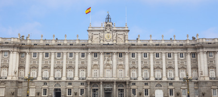 stereotypically: Facade of Royal Palace in, Madrid, Spain. View from courtyard
