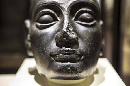 Madrid, Spain - February 24, 2017: head of Gudea at National Archeological  Museum of Madrid. He was a ruler of the Sumerian city of Lagash in Southern Mesopotamia