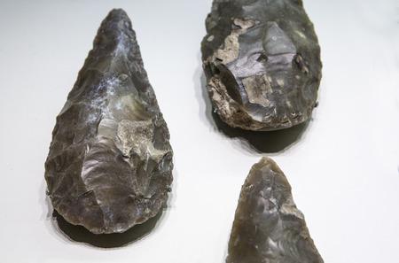 Stone tool. Lower Paleolithic. Lanceolate bifaces 免版税图像