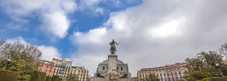 iv: Panoramic view of East Square With Equestrian statue of Philip IV, Madrid, Spain Stock Photo