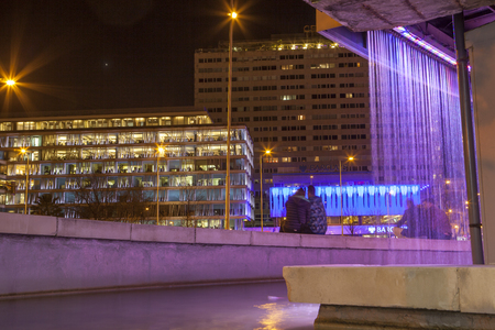 gomez: Madrid, Spain - ferbruary 24, 2017: Colon Square from Fernan Gomez art centre fountain at night