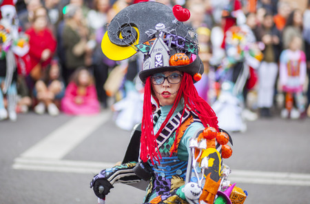 troupe: Badajoz, Spain - February 28, 2017: Performer take part in the Carnival parade of troupes at Badajoz City, on February 7, 2016. This is one of the best carnivals in Spain, especially highlighting massive participation of people