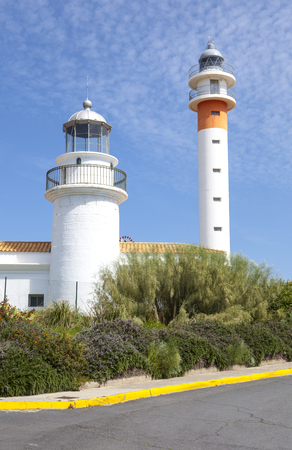 floccus: Two lighthouses in El Rompido, Cartaya, Costa de la Luz, Huelva region, Andalucia, Spain, Europe