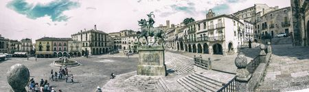 Trujillo, Spain - June 4, 2017: Panoramic view of Plaza Mayor at Trujillo, Spain. Statue of Francisco Pizarro in the middle