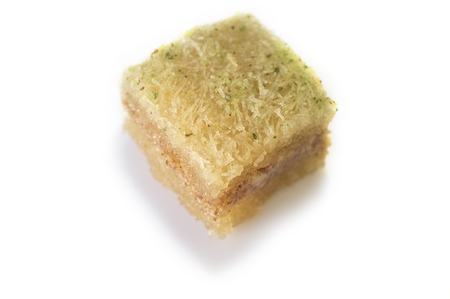 baklava: One east sweet baklava pastry isolated on white. Isolated over white background