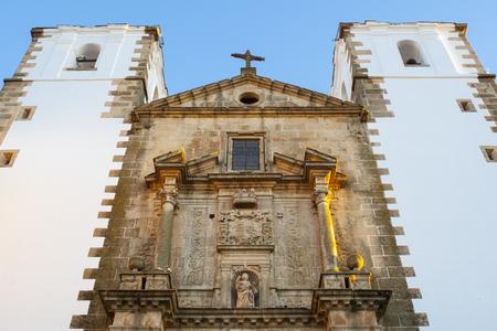 pyramidal: San Francisco Javier Church facade, upper body. Caceres, Extremadura, Spain