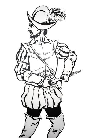commander: Badajoz, Spain - june 20, 2017: Pedro de Alvarado, spanish conquistador. Prominent historic people born in Badajoz, Luis de Morales Museum