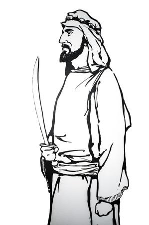 Badajoz, Spain - june 20, 2017: Abdallah ibn Al-Aftas was the founder of the Bani Al-Aftas dynasty of the taifa of Badajoz, Prominent historic people born in Badajoz�,� at Luis de Morales Museum