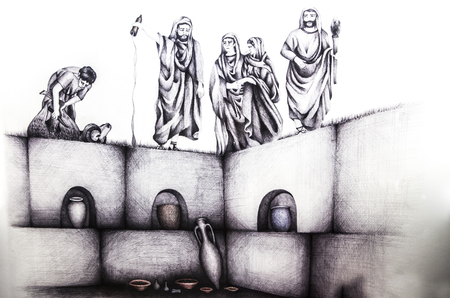 cremated: Antequera, Spain - July 14th, 2017: Historical reconstruction drawing of roman funerary rite at columbarium. Municipal Museum of Antequera, Malaga, Spain