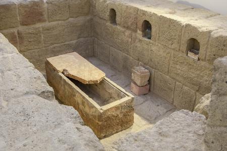 cremated: Antequera, Spain - July 14th, 2017: Roman monumental columbarium Acilia Plecusa. Municipal Museum of Antequera, Malaga, Spain Editorial