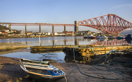 The Forth Rail Bridge seen from North Queensferry Fife harbour, Scotland