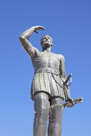 he: Vasco Nunez de Balboa statue, Jerez de los Caballeros, Spain. He was the discoverer of the Pacific Ocean