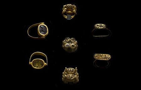 Aliseda, Spain - Octibre 29, 2017: Gold rings belong to tartessos treasure of Aliseda. Replica currently kept at Interpretation Centre of Aliseda, Caceres, Spain