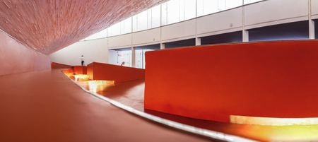 Badajoz, Spain - October 22, 2017: Congress Center Manuel Rojas, designed by Jose Selgas and Lucia Cano. Entry hall Editorial