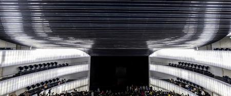 Badajoz, Spain - October 22, 2017: Congress Center Manuel Rojas, designed by Jose Selgas and Lucia Cano. Panorama interior of auditorium upper rows