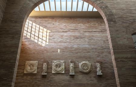 Merida, Spain - December 20th, 2017: National Roman Art Museum in Merida, Spain designed by Rafael Moneo. Portico of the City Forum in Merina Imagens - 92309779