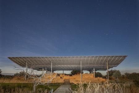 Archaeological site of Cancho Roano at Zalamea de la Serena, Badajoz, Spain. Moonlight shot