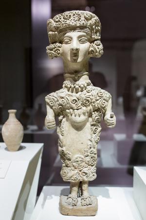 Madrid, Spain - November 10th, 2017: Lady of Ibiza, representation of Carthaginian goddess Tanit. National Archeological Museum of Madrid 에디토리얼