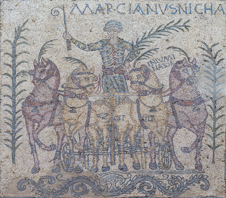 Merida, Spain - December 20th, 2017: Mosaic representing the Victory of Quadriga Charioteer named Marcinaus, Merida, Spain. National Roman Art Museum